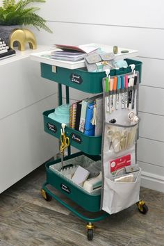 A La Cart craft storage cart by Aly Dosdall for We R Memory Keepers - Storage Cart - Ideas of Storage Cart Ikea Raskog Cart, Ikea Cart, Atelier Creation, Creation Couture, Craft Storage Cart, Kitchen Storage, Storage Ideas, Art Storage, Chariot Ikea