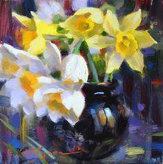 "Daily+Paintworks+-+""Daffodils+in+Vase""+-+Original+Fine+Art+for+Sale+-+©+Elena+Katsyura"