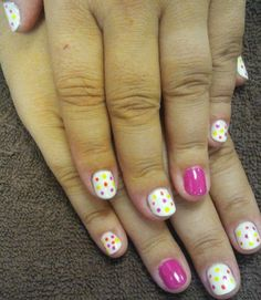 Cupcake Sprinkles Manicure---dots, dots, dots!