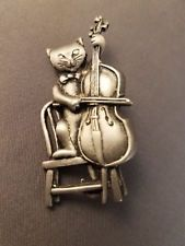 Vintage JJ Cat Playing Cello on Chair Brooch