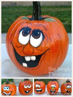 Scarecrow Face, Painted Pumpkin Faces, Pumpkin Face Paint, Cute Pumpkin Faces, Pumpkin Art, Painted Pumpkins, Pumpkin Crafts, Painted Halloween Pumpkins, Pumpkin Drawing