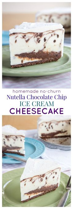 Homemade No-Churn Nutella Chocolate Chip Ice Cream Cheesecake - simple but worthy of a special occasion! Combine cheesecake and ice cream cake, add swirls of Nutella chocolate ganache, and layer it on a gluten free chocolate hazelnut crust. | cupcakesandkalechips.com
