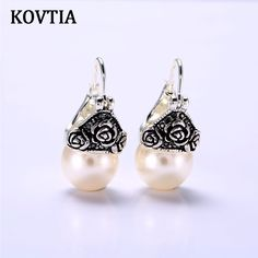 KOVTIA Vintage Clear Pearl Stud Earrings For Women Platinum Plated Party Ear Cuff Jewelry Wedding Accessories Girls Gift 85582 //Price: $8.06 & FREE Shipping //     #hairextension #style #beauty #woman #love