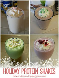 theworldaccordingtoeggface: Healthy Holidays: Christmas Protein Shakes - Sugar Free - Christmas themed for Fitness Weight Loss Bariatric Surgery