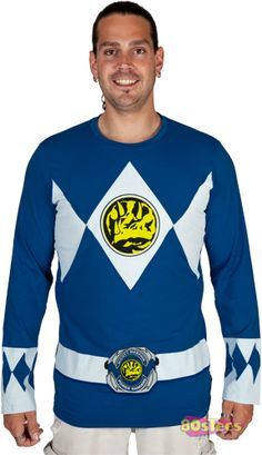 Fans of the studious Mighty Morphin Power Ranger will enjoy this Blue Ranger long sleeved costume shirt.