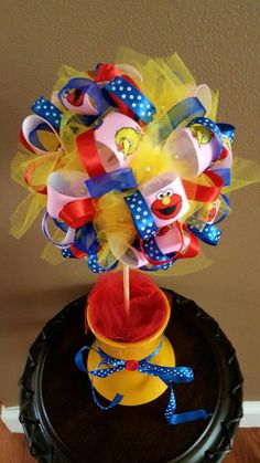 Elmo Big Bird Cookie Monster Sesame Street Birthday Party Centerpiece Ribbon Topiary Kids Room Nursery Baby Shower Gift!  Tulle & Ribbon! by CuteAsAButtonForAll on Etsy