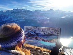 Nikki Frumkin painting in the swiss alps