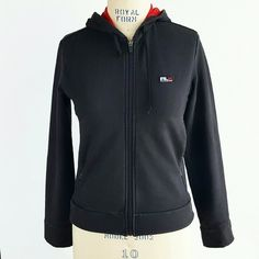 RLX by Ralph Lauren Hooded Jacket RLX by Ralph Lauren Hooded Jacket with drawstring ties, red hood interior, 2 zip pockets at sides. Black knit has faded in color, but still good condition! RLX by Ralph Lauren  Jackets & Coats