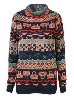 Sale 28% (35.69$) -  Casual Women Turtleneck Long Sleeve Geometric Printed Pullover Sweater