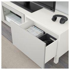 IKEA - BESTÅ TV unit with drawers and door white Lappviken, light gray