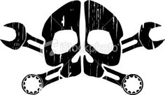skull and crossbones with wrench