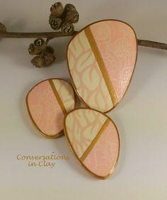 Pink Patchwork - polymer clay silk screen