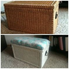 $15 garage sale find. $12 supplies. $27 wicker chest turned into end of bed bench with storage. & Large Vintage Wicker Rattan Storage Chest / Trunk / Bench / Coffee ...