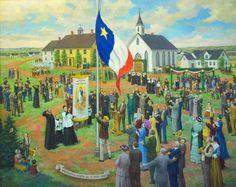 Premier lever - sur terre - du drapeau national de l'Acadie - Miscouche, IPE, 1884