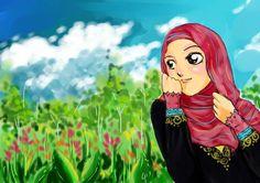 His Creation by cahaya-pemimpin on DeviantArt Cartoon Art, Cute Cartoon, Hijab Cartoon, Muslim Girls, Manga Drawing, Beautiful Pictures, Girly, Princess Zelda, Animation