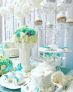 Gorgeous desserts at an angel baby shower party! See more party planning ideas at CatchMyParty.com!