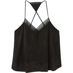 Mango Wrap Back Top, Black (1,215 DOP) ❤ liked on Polyvore featuring tops, sleeveless tank tops, v neck camisole, camisoles & tank tops, black cami and black sleeveless top