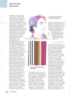 """Sul numero di ottobre 2013 della Rivista Graph del Sole 24Ore un lungo articolo dal titolo """"Il DNA del bello"""" racconta il progetto Streamcolors. Pag. 62 #arte #moda #design #etro"""