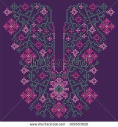 Neckline embroidery (cross-stitch) - stock vector