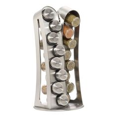 Kamenstein Stainless Steel 16-Jar Revolving Spice Rack with Free Spice Refil