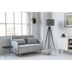 Canapé convertible 2 places Belushi gris clair Banquette Convertible, Convertible 2 Places, Canapes, Tripod Lamp, Future House, Drawers, Design Inspiration, House Design, Bedroom