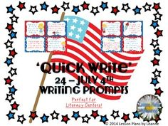 24 Writing Prompts for July 4th - Perfect for Literacy/Writing Centers