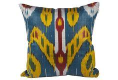 Silk Ikat Pillow, Blue