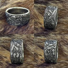 """Ring """"Celtic Dogs Celtic Wolves Sterling silver Wolf Ring. Ring with Celtic ornament elements and embellishments with wild dogs"""