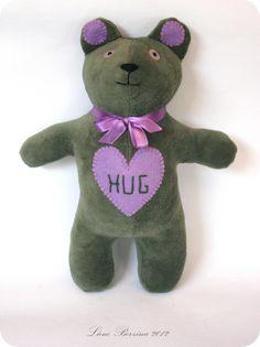 Lavender/ Moss Hug Bear soft toy
