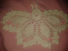borboleta branca de crochê