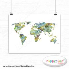Very large custom world map print or printable world map art red large watercolor world map print or printable choice of colours text size gumiabroncs Choice Image