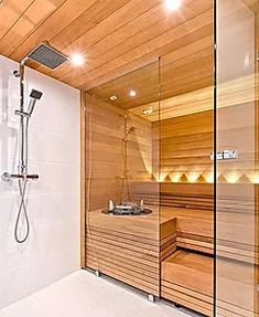 38 Easy And Cheap Diy Sauna Design You Can Try At Home. he prospect of building a sauna in the home may initially sound daunting, but in fact it is a relatively simple project . Saunas, Diy Sauna, Sauna Ideas, Sauna Steam Room, Sauna Room, Small Bathroom With Shower, Bathroom Spa, Bathroom Ideas, Bathroom Showers