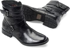 New for Fall; the McMillan by Born. Love the wrap-around strap look. Tanker Boots, Leather Boots, Black Leather, Born Boots, Comfortable Boots, Fashion Essentials, We Wear, Me Too Shoes, Fashion Shoes