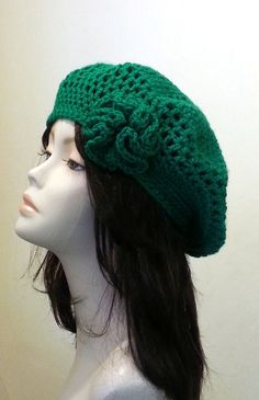 Crocheted Beret Hat Slouch Hat Green Acrylic by jazzicrafts, £17.85