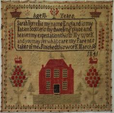 EARLY/MID 19TH CENTURY RED HOUSE & VERSE SAMPLER BY SARAH BURRELL AGED 10 - 1841