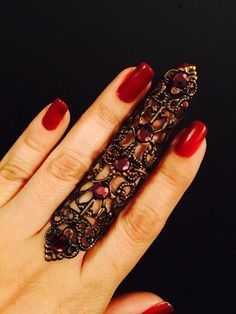A personal favorite from my Etsy shop (null) Full Finger Rings, Ring Finger, Nail Guards, Long Natural Nails, Armor Ring, Gel Nails At Home, Nail Ring, Crystal Nails, Vintage Rings