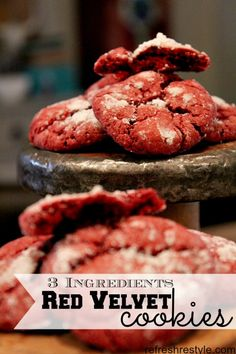 "Red Velvet Cookie - Three Ingredient-----1 box Red Velvet Cake Mix 2 eggs 1/1 cup oil  Mix all three ingredients, roll into 1"" balls or drop by spoon.  Bake at 350 for 10 - 12 minutes.  I baked mine for 12 minutes, as you know all ovens are different or that's what they say!  Just check them after about 10 minutes."