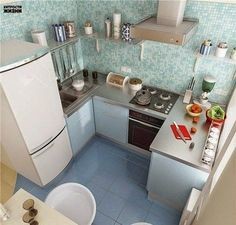 15 Modern Small Kitchen Design Ideas for Tiny Spaces This Tiny kitchen is my most favorite tiny kitchens I've seen because of its lay out. What I would change is the location of the sink under the window to have counter space closer to fridge. Small Modern Kitchens, Modern Kitchen Design, Interior Design Kitchen, Home Kitchens, Tiny Kitchens, Interior Design Ideas For Small Spaces, Modern Spaces, Modern Interior, Modern Design
