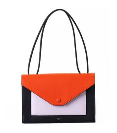 Céline Pocket Flapbag, Bright Orange Multicolor