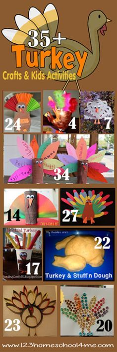 35 Turkey Crafts Kids and Turkey Activities for toddler, preschool, kindergarten, and elementary age kids. There are so many fun, clever, and unique thanksgiving crafts for kids