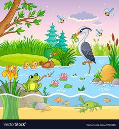 Buy Vector Set with Nature and Animals by svaga on GraphicRiver. Vector set with nature and animals in the children s cartoon style. Lovely crawfish and fish on water. Nature Drawing For Kids, Drawing Lessons For Kids, Art Drawings For Kids, Easy Drawings, Animal Drawings, Art For Kids, Crafts For Kids, Cartoon Cartoon, Cartoon Styles