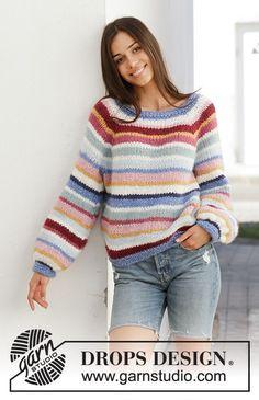 Jumper Knitting Pattern, Knitting Patterns Free, Knit Patterns, Free Knitting, Free Pattern, Knitting Sweaters, Crochet Shawl Free, Knit Crochet, Drops Design