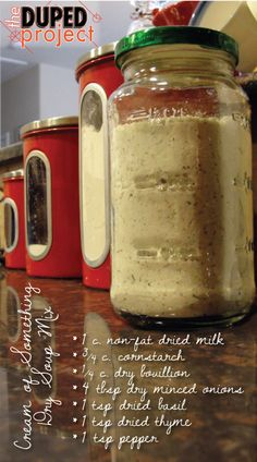 Make-ahead Cream of Something Dry Soup Mix 1 3 c mix 1 4 c Water Creamed Soup for Recipes Homemade Dry Mixes, Homemade Spices, Homemade Seasonings, Homemade Cheese, Dry Soup Mix, Soup Mixes, Spice Mixes, Mason Jar Meals, Meals In A Jar