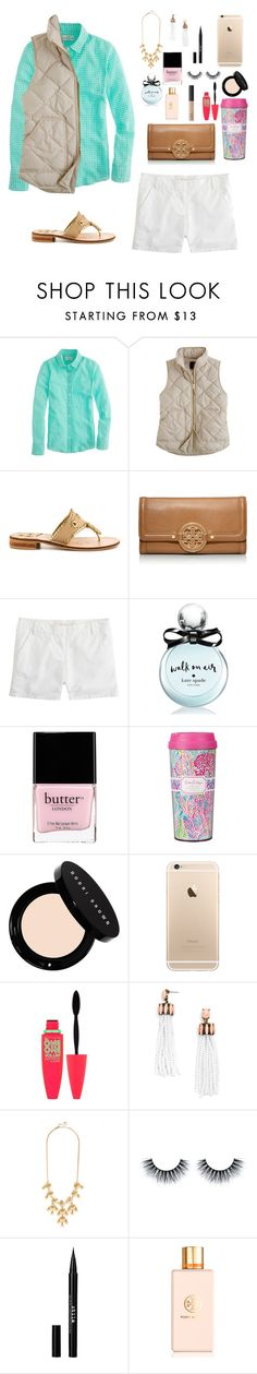 """""""Who says you can wear white after Labor Day?"""" by softballlover468 ❤ liked on Polyvore featuring Belleza, J.Crew, Jack Rogers, Tory Burch, Kate Spade, Butter London, Lilly Pulitzer, Bobbi Brown Cosmetics, Maybelline y BaubleBar"""