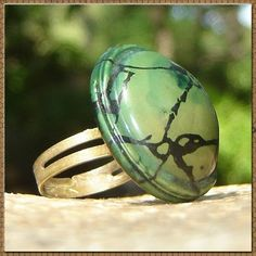 Vintage Domed Celluloid Button Ring  Earthy by RescuedOfferings