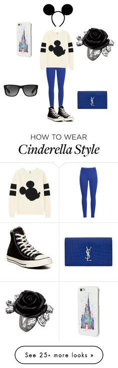 """Mickey "" by arianaharren on Polyvore featuring Black Diamond, Uniqlo, Yves Saint Laurent, Converse, Disney and Ray-Ban"