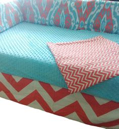 4 piece Crib bedding set in Aqua and Coral on Etsy, $165.95