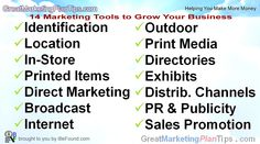 14 Marketing Tools to Grow Your Business Direct Marketing, Small Business Marketing, Marketing Plan, Marketing Tools, Effective Marketing Strategies, Sale Promotion, Make More Money, Growing Your Business, How To Plan