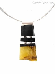 Exclusive Elegant Handmade Genuine Natural Baltic Sea Amber - Succinite - and Noble Variety of Wood - Ebony and Sterling Silver Cute BIZ1477
