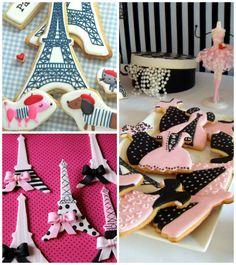 Biscoitos decorados em  festa tema Paris para aniversário infantil